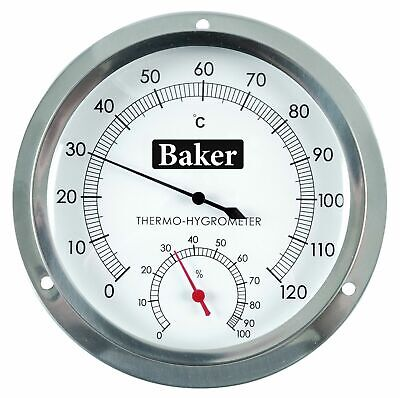 Baker B6020 Dial Thermo-Hygrometer, 5 Diameter, 0° to 120°C,  0 to 100% R.H