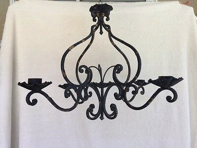 Antique French France Iron Scroll Chandelier Hearts Ornate