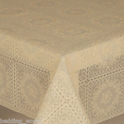 Pvc Table Cloth Amelie Cream Lace Floral Circle Squares Traditional Wipe Able