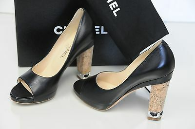 6108582badd9 New Chanel Black Leather CC Logo Silver Chain Peep Toe Cork Heel Pumps Shoes  37