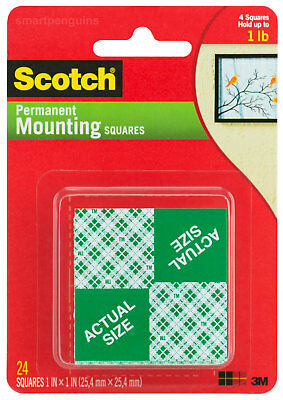 "3M Scotch Permanent Mounting Squares Double Sided Foam 1"" x 1"" 24ct"