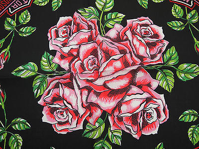 "NOS Harley Davidson Black Bandana with Pink Roses MADE IN USA 22"" x 22"""