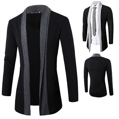 Stylish Men's Knitted Cardigan Jacket Slim Long Sleeve Casual Shawl Sweater Coat