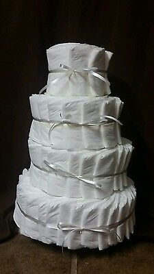 UNDECORATED 4 tier diaper cake 100 Pampers Swaddlers!