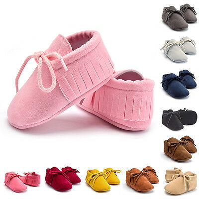 2017 Newborn Toddler Infant Suede Leather Girls Boys Baby Soft Tassel Sole Shoes