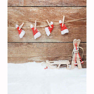 3x5FT Christmas Hat Snow Studio Prop Photography Photo Backdrop Party Background