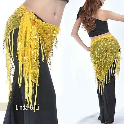 Belly Dance Costume Hip Scarf Triangle Sequins Shawl  10 Colors 7/2