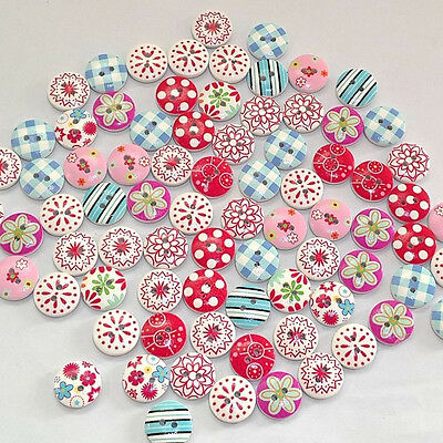 100Pcs Cute Assorted Wood Floral Buttons, Pattern Arts And Crafts Scrapbooking