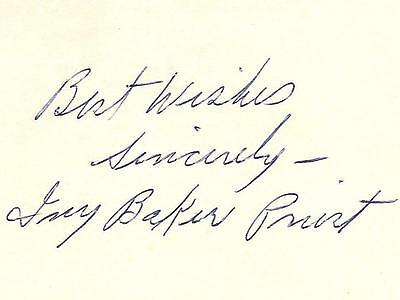 Autographed Card Signed By United States Treasurer Ivy Baker Priest Signature