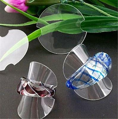 10PCSClear Plastic Rings Stand Jewelry Display Showcase Dia 40mm EF