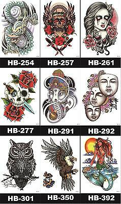 UK Metallic Temporary Tattoo Sticker Fake 3D Removable Waterproof Arm Body Art
