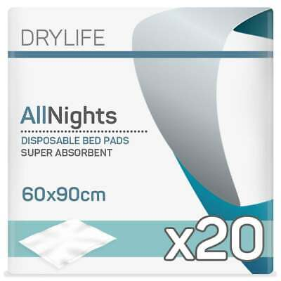 Drylife All Nights Disposable Bed Pads (60cm x 90cm) - Pack of 20