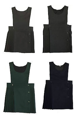 School Girls Children Uniform Dress Wrapover Pleated Bib Pinafore Sizes 2-16 Yrs