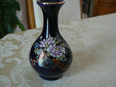 Vintage Kutani Small Cobalt Blue Floral Pattern Gold Trim Vase Made in Japan