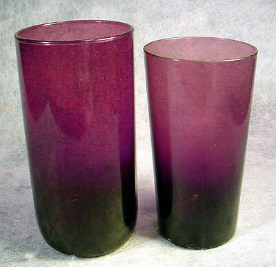 2 Vintage AMETHYST Glass TUMBLERS Moroccan PURPLE Hazel Atlas WATER Ice Tea SET