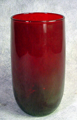 Vintage ROYAL RUBY Red Glass TUMBLER Anchor Hocking WATER Ice Tea ROLY POLY Old
