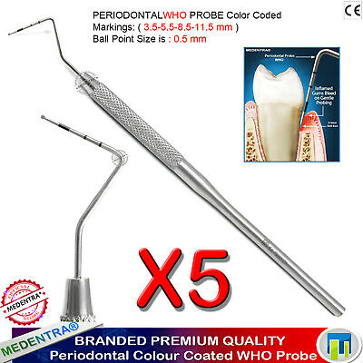 Periodontal Probe WHO Measuring Probes BPR PSR Color Coated Set Of 5 Laboratory