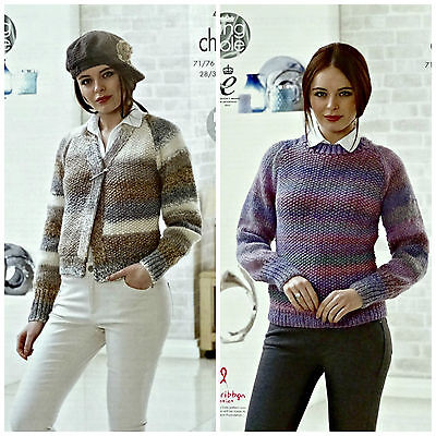 KNITTING PATTERN Ladies Easy Knit Round Neck Jumper Chunky King Cole 4633