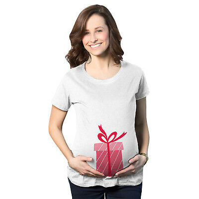 Maternity Christmas Present Box Holiday Pregnancy Announcement T shirt