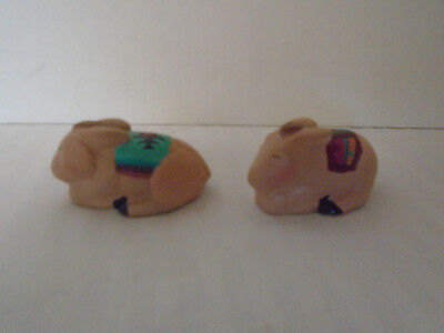 2 Sandy Whitefeather Native American Handmade Clay Bunnies Signed