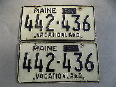 1967 Maine ME Pair of License Plates w/ Tabs 442-436 Vacationland White Black