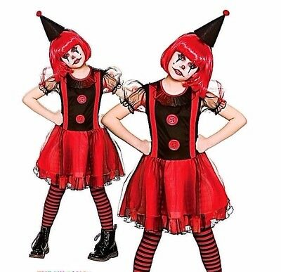 Girls FREAKY CLOWN Halloween Scary Horror Child Fancy Dress Costume Age 5-13