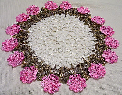 pink hand dyed crocheted doily by Aeshagirl