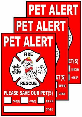 "PET ALERT Rescue Your House Pets Decal Sticker 3-Pack 4""x6"" Weather Proof Vinyl"