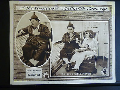 1919 Camping Out - Comedy Silent Lobby Card - Directed Starring Fatty Arbuckle