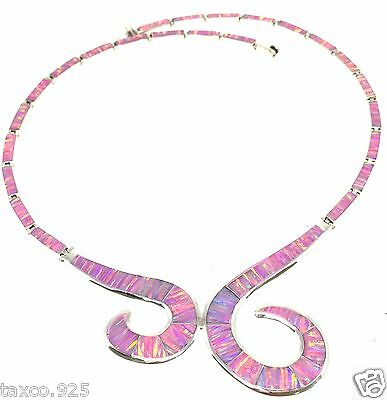 Taxco Mexican 950 Sterling Silver Pink Opal Necklace Mexico