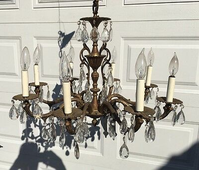 "Vintage Large Ornate Antique 8 Light French Chandelier 24"" Dia. w/Glass Crystals"