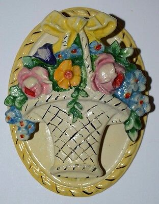 HUBLEY Door Knocker Antique Original 1920s Cast Iron Yellow Flowers Basket MINTY