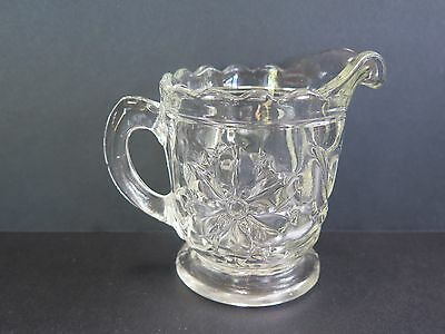 Small Heavy Glass Milk/creamer Jug With Flower Pattern