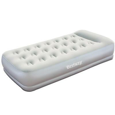 Bestway Guest Camping Flocked Air Bed Inflatable Mattress w Built-In Pump Single
