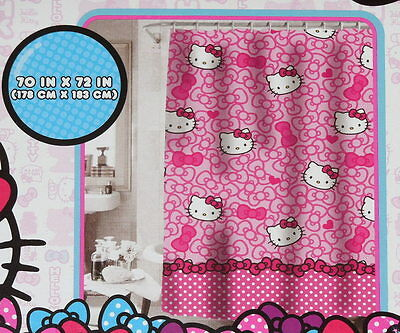HELLO KITTY Shower Curtain NEW Pink Fabric 70 x 72