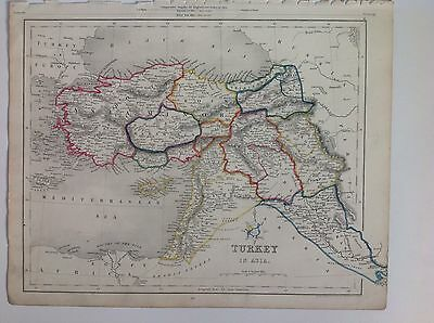 Turkey In Asia c1850 Original Antique Map 12.5x10 Gilberts Modern Atlas