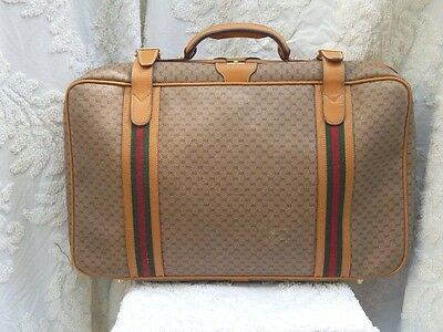 AUTHENTIC Vintage GUCCI Suitcase Luggage Monogram GG Canvas Leather