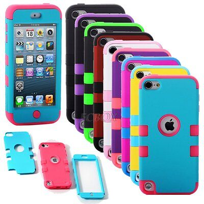 Hybrid Shockproof Matte Hard Soft Rubber Combo Case Cover For iPod Touch 5 / 6