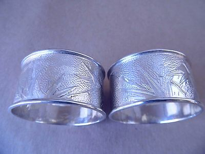 Excellent Pair Chinese Sterling Silver Hammered Napkin Rings