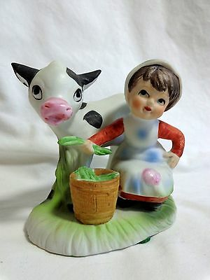 "Norleans Figurine 3.5"" Girl Feeding Cow Porcelain Farm Country"