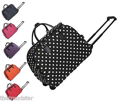 Ladies Travel Bags Holdall Hand Luggage Womens Polka Dot Weekend Wheeled Trolley