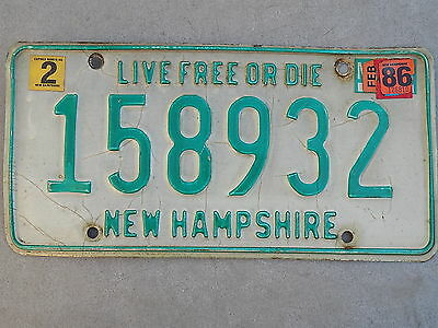 1986 New Hampshire NH License Plate 158932 Live Free or Die ~FastFreeShip~