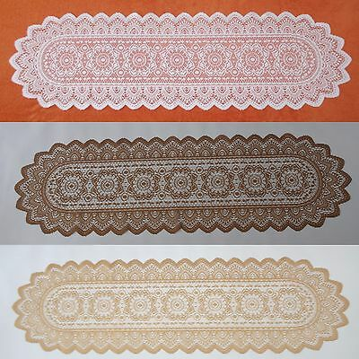 Lace TABLE RUNNER Table Linen White/Gold/Brown 35x120cm