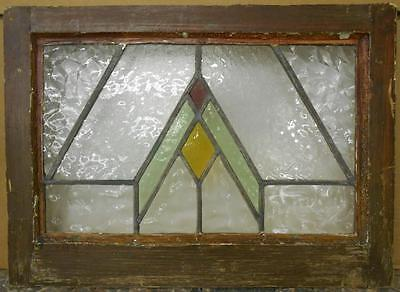 "OLD ENGLISH LEADED STAINED GLASS WINDOW Nice Geometric Design 21.5"" x 15.5"""