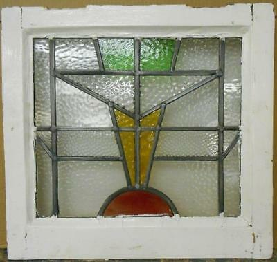 "OLD ENGLISH LEADED STAINED GLASS WINDOW Pretty Abstract Design 17.75"" x 16.75"""