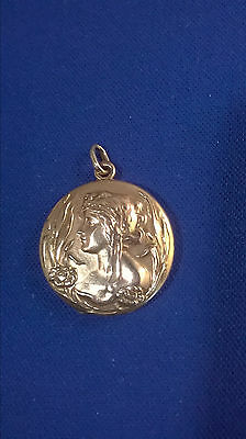 10K Gold Art Nouveau Lady Locket with Flowers and Monogram Scroll MS
