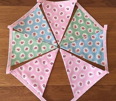 Pretty Provence Floral Rose Pink Blue Green Bunting Shabby Chic Wedding 1m