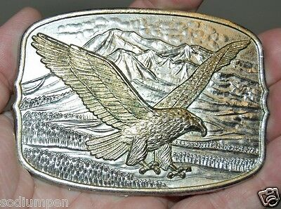 Nice Vintage Plated Mountains Soaring Eagle Nature Hunting Belt Buckle Rare