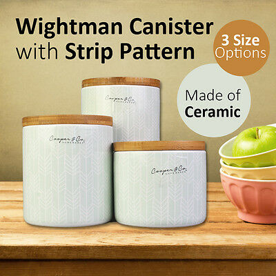 Wightman Ceramic Canister with Strip Pattern Kitchenware Food Storage Organizer