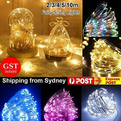 2-10M Battery Powered Silver Wire String Fairy Lights LED Waterproof Xmas Party